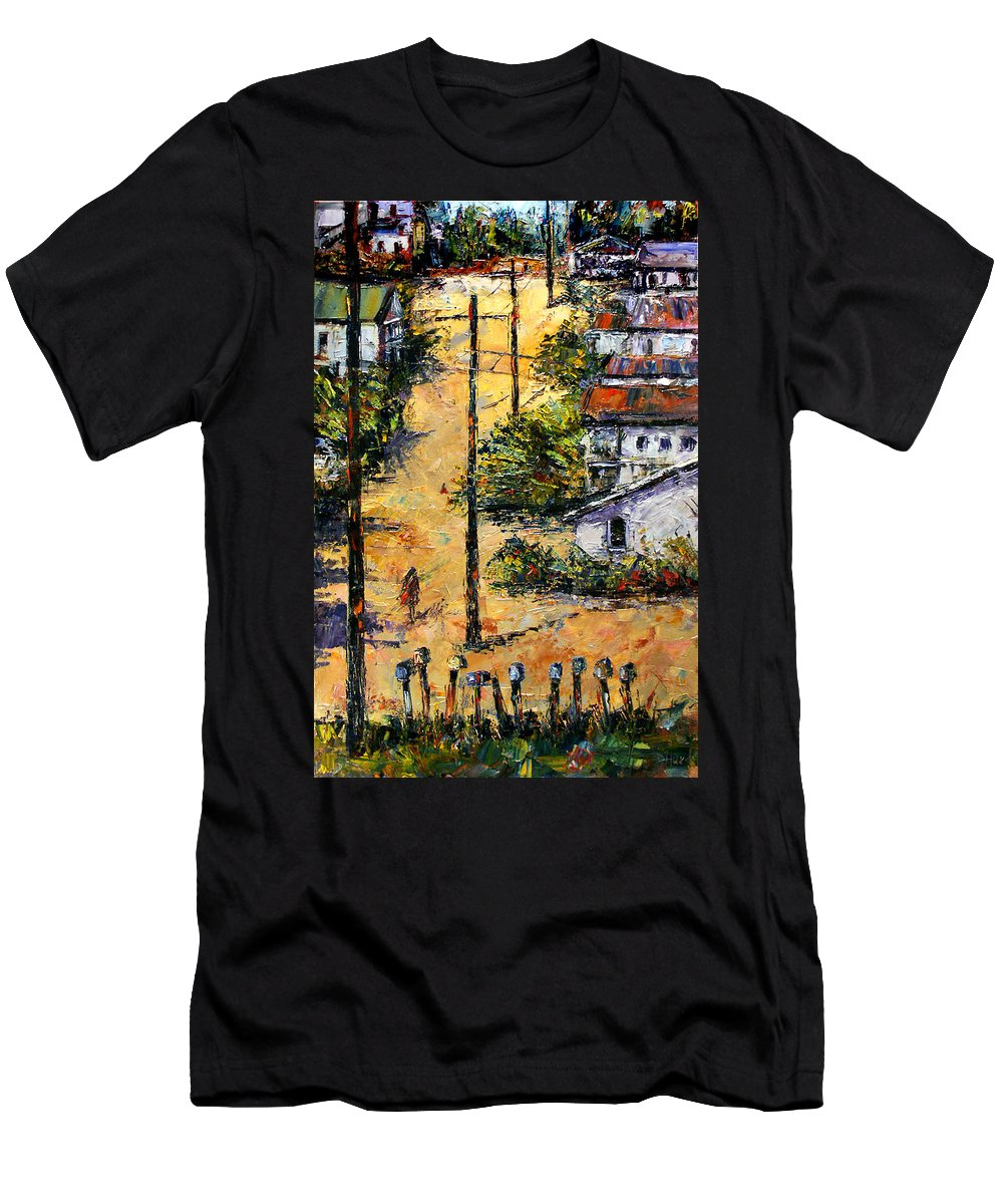 Chavez Revine Men's T-Shirt (Athletic Fit) featuring the painting Mail Boxes Chavez Revine by Debra Hurd