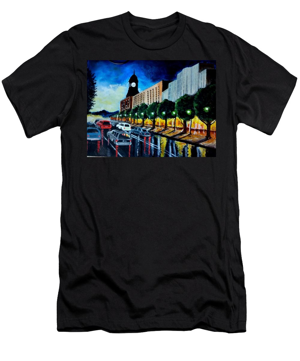 Lighted Streets Men's T-Shirt (Athletic Fit) featuring the painting Main Street Clock Tower by Ramesh Mahalingam