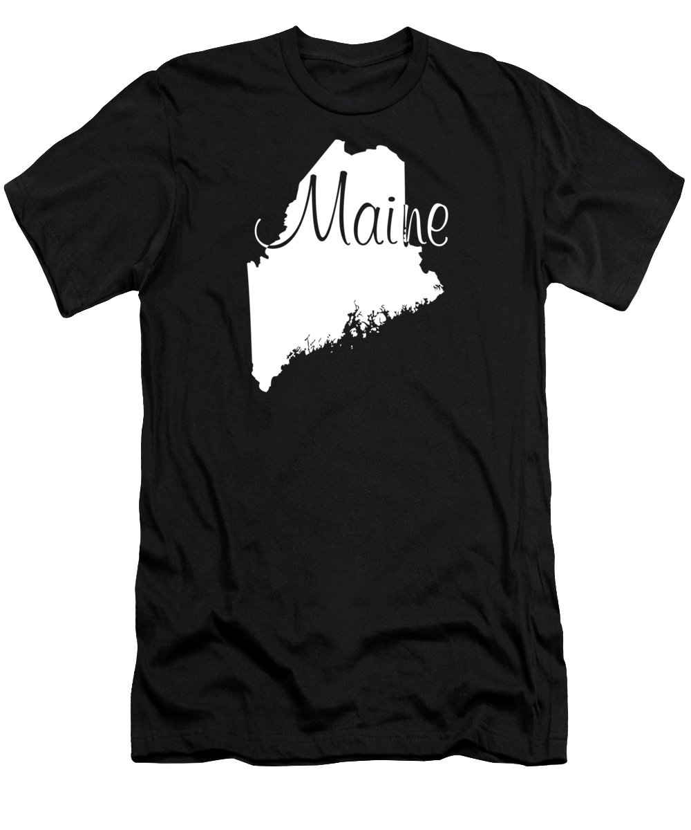 Maine Men's T-Shirt (Athletic Fit) featuring the digital art Maine In White by Custom Home Fashions