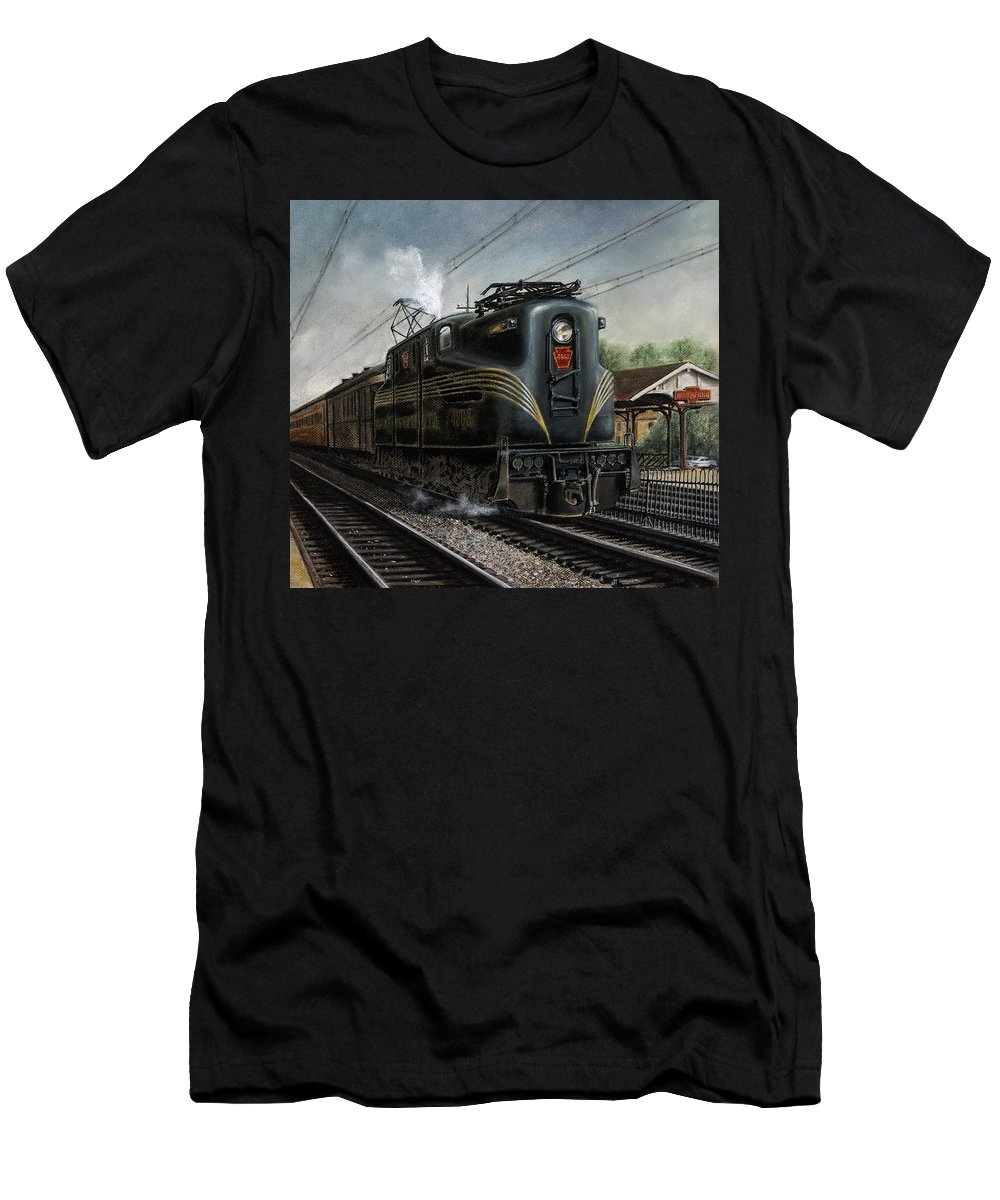 Trains Men's T-Shirt (Athletic Fit) featuring the painting Mainline Memories by David Mittner