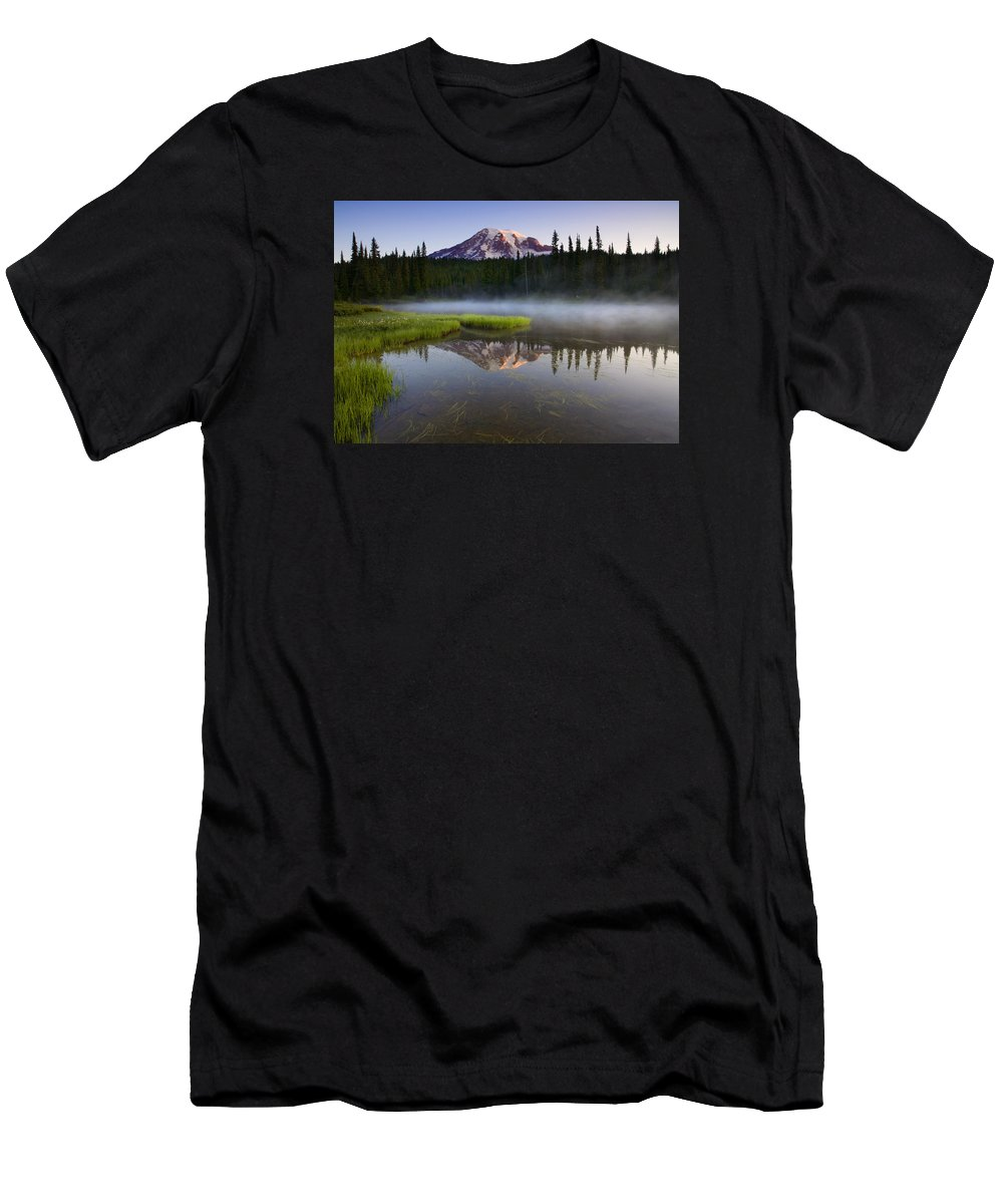 Lake Men's T-Shirt (Athletic Fit) featuring the photograph Majestic Dawn by Mike Dawson