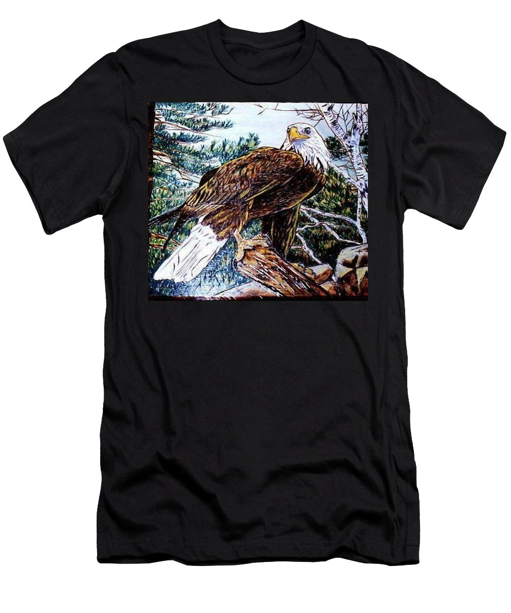 Pyrography T-Shirt featuring the pyrography Majestic Eagle by Danette Smith