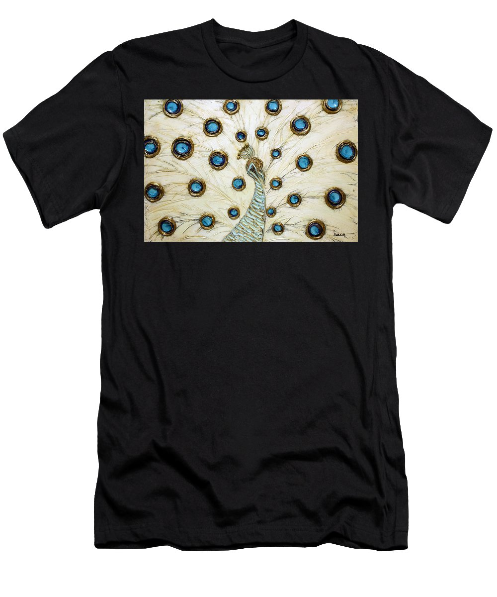 Peacock Men's T-Shirt (Athletic Fit) featuring the painting Majestic by Susanna Shaposhnikova