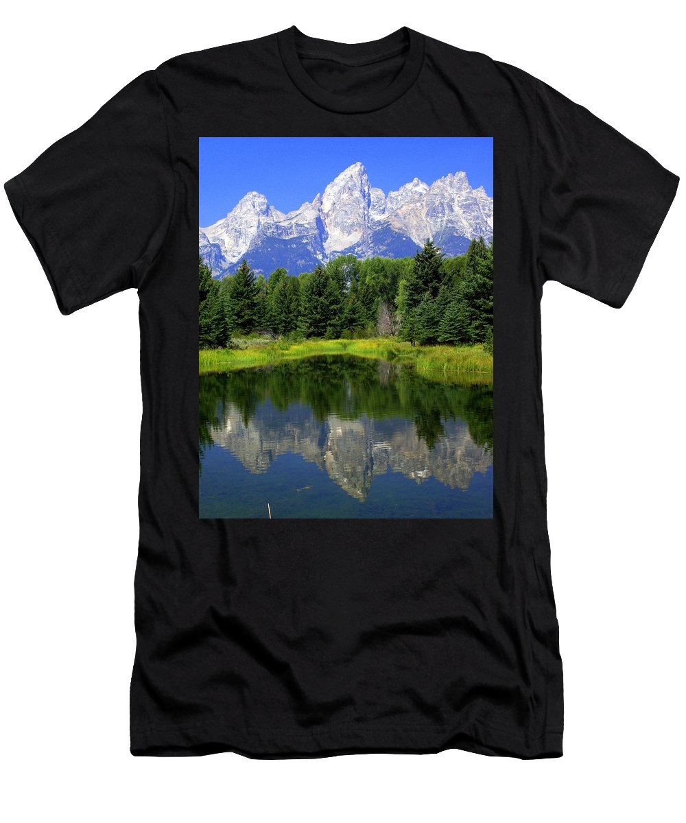 Grand Teton National Park Men's T-Shirt (Athletic Fit) featuring the photograph Majestic Tetons by Marty Koch