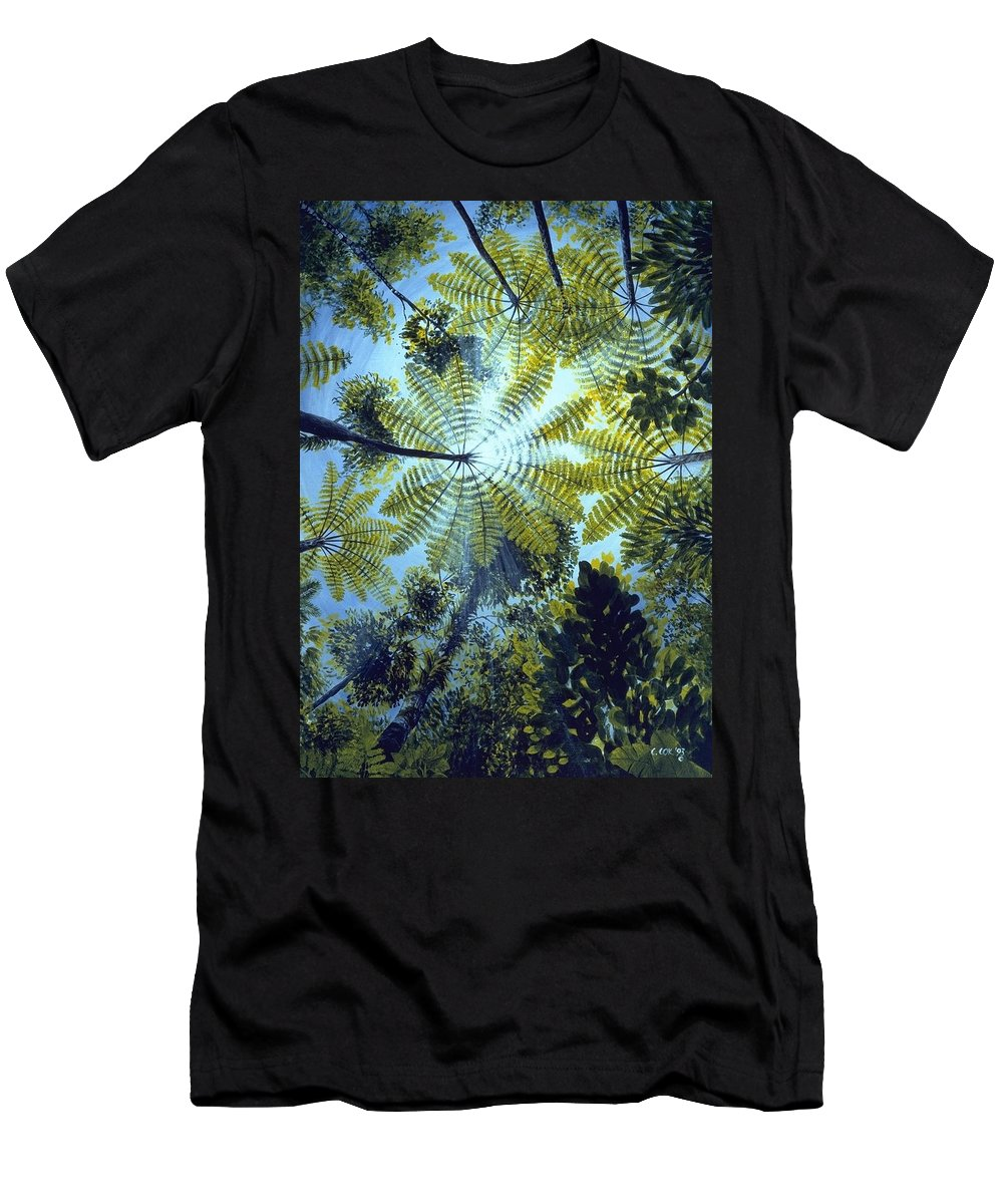 Chris Cox Men's T-Shirt (Athletic Fit) featuring the painting Majestic Treeferns by Christopher Cox
