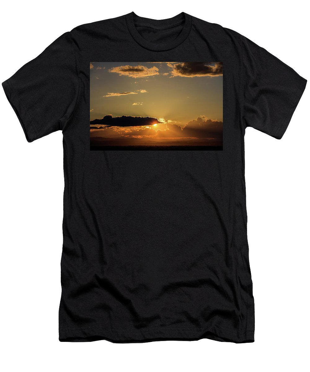 Sun Men's T-Shirt (Athletic Fit) featuring the photograph Majestic Vivid Sunset/sunrise With Dark Heavy Clouds And Sunrays by George Tsartsianidis