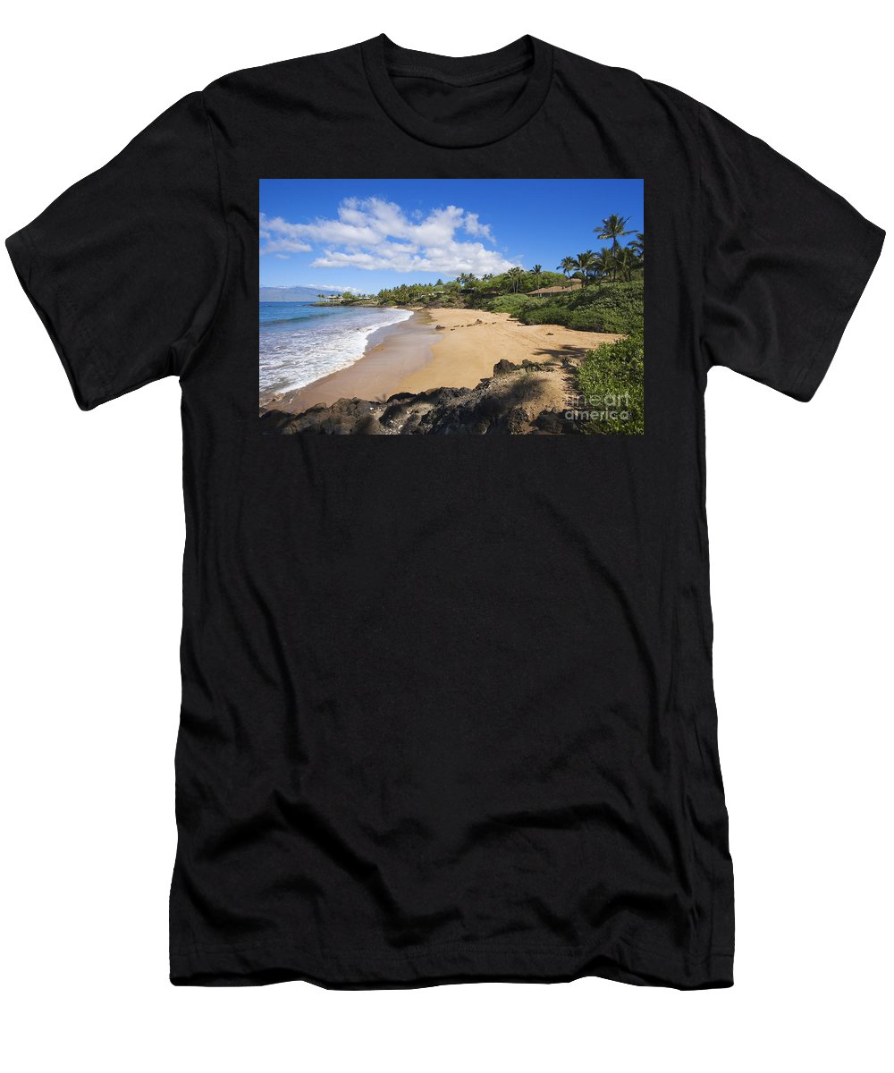 Beach Men's T-Shirt (Athletic Fit) featuring the photograph Makena, Changs Beach by Ron Dahlquist - Printscapes
