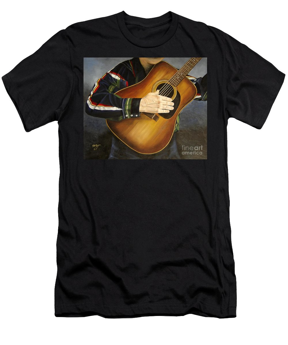 Usa Men's T-Shirt (Athletic Fit) featuring the painting Making Music by Mary Rogers