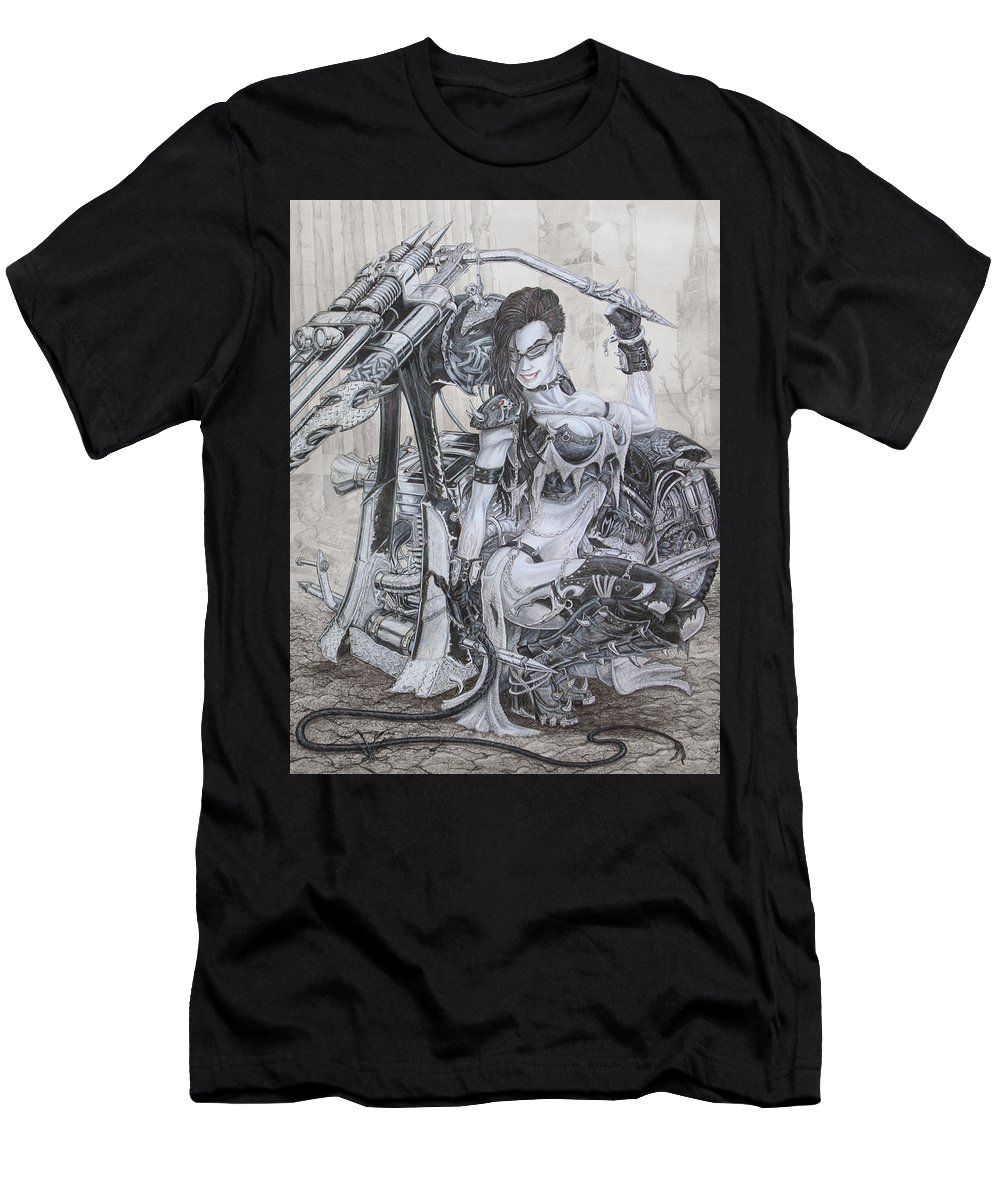 Bike Men's T-Shirt (Athletic Fit) featuring the drawing Malice by Kristopher VonKaufman