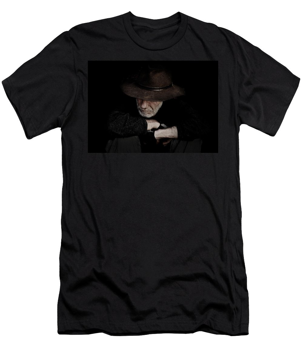Akubra Men's T-Shirt (Athletic Fit) featuring the photograph Man In Akubra Hat by Sheila Smart Fine Art Photography