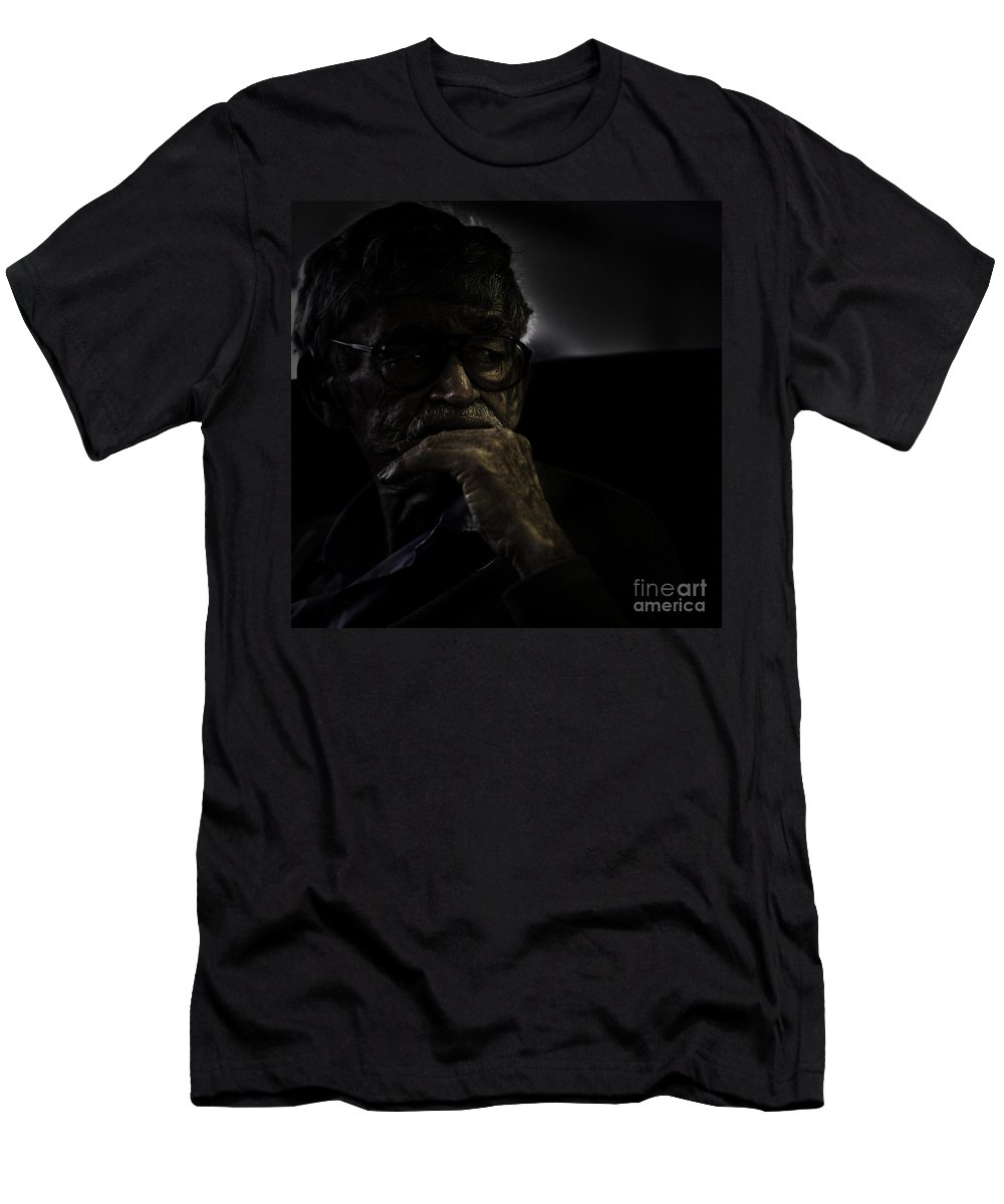 Portrait Men's T-Shirt (Athletic Fit) featuring the photograph Man On Ferry by Sheila Smart Fine Art Photography
