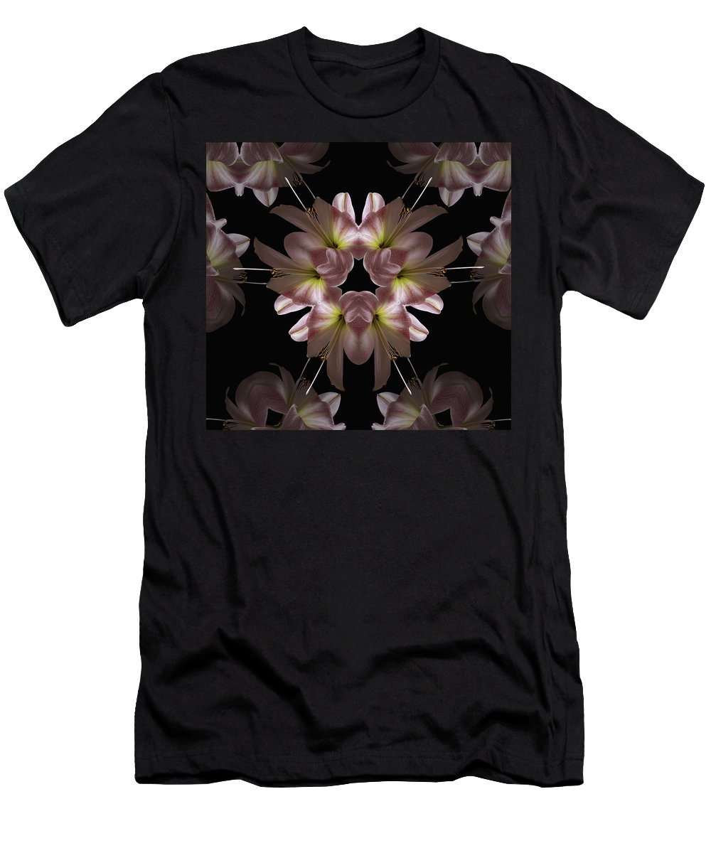 Mandala Men's T-Shirt (Athletic Fit) featuring the digital art Mandala Amarylis by Nancy Griswold