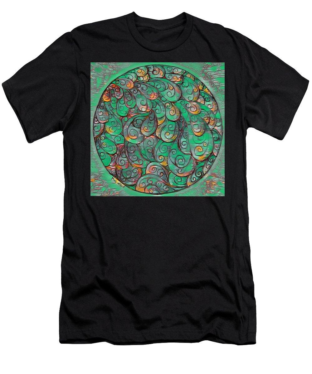 Mandalas Men's T-Shirt (Athletic Fit) featuring the digital art Mandala In Green by Megan Walsh