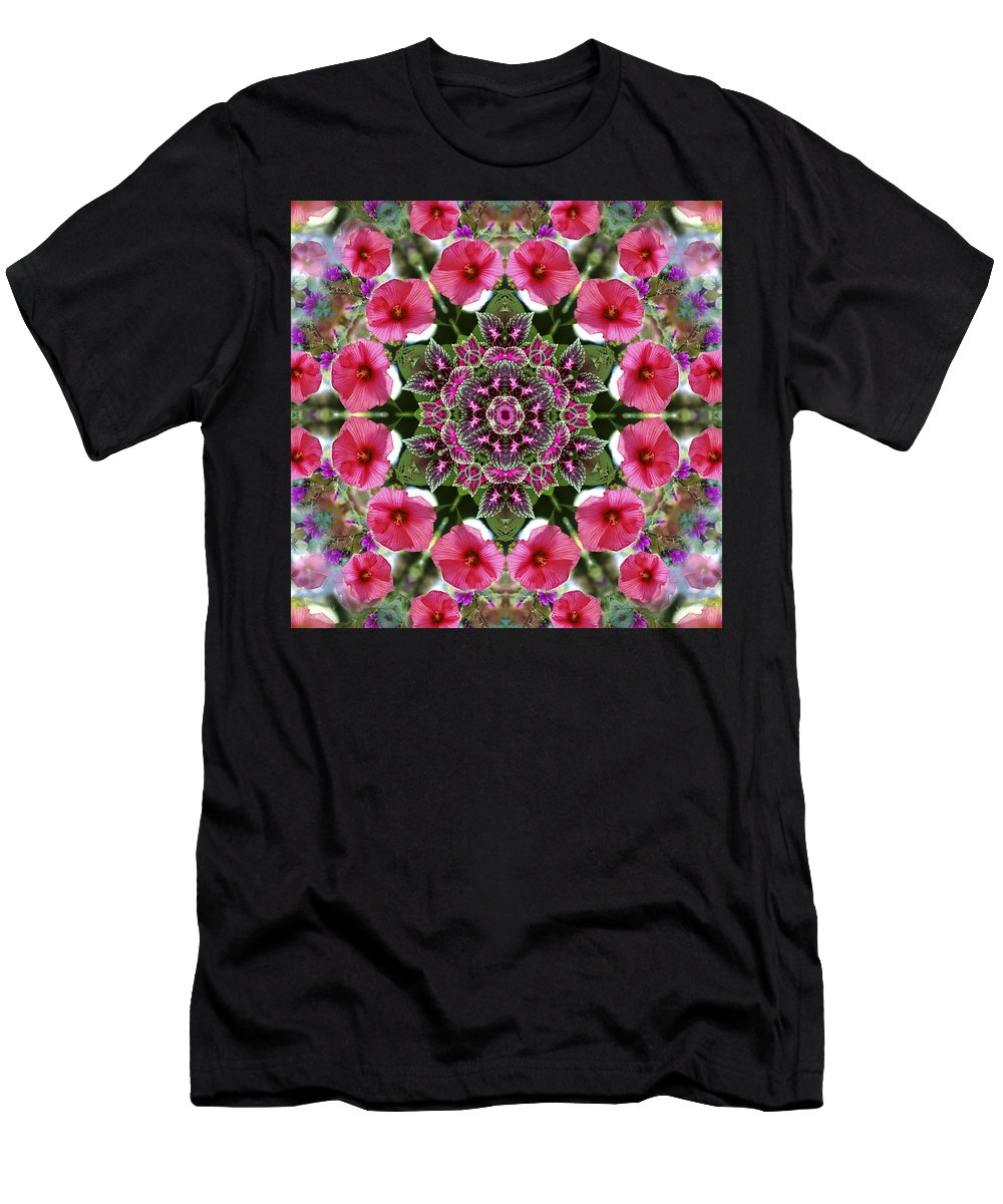 Mandala Men's T-Shirt (Athletic Fit) featuring the digital art Mandala Pink Patron by Nancy Griswold
