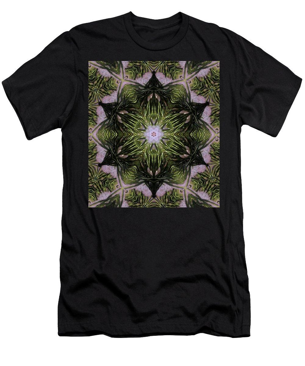 Mandala Men's T-Shirt (Athletic Fit) featuring the digital art Mandala Sea Sponge by Nancy Griswold