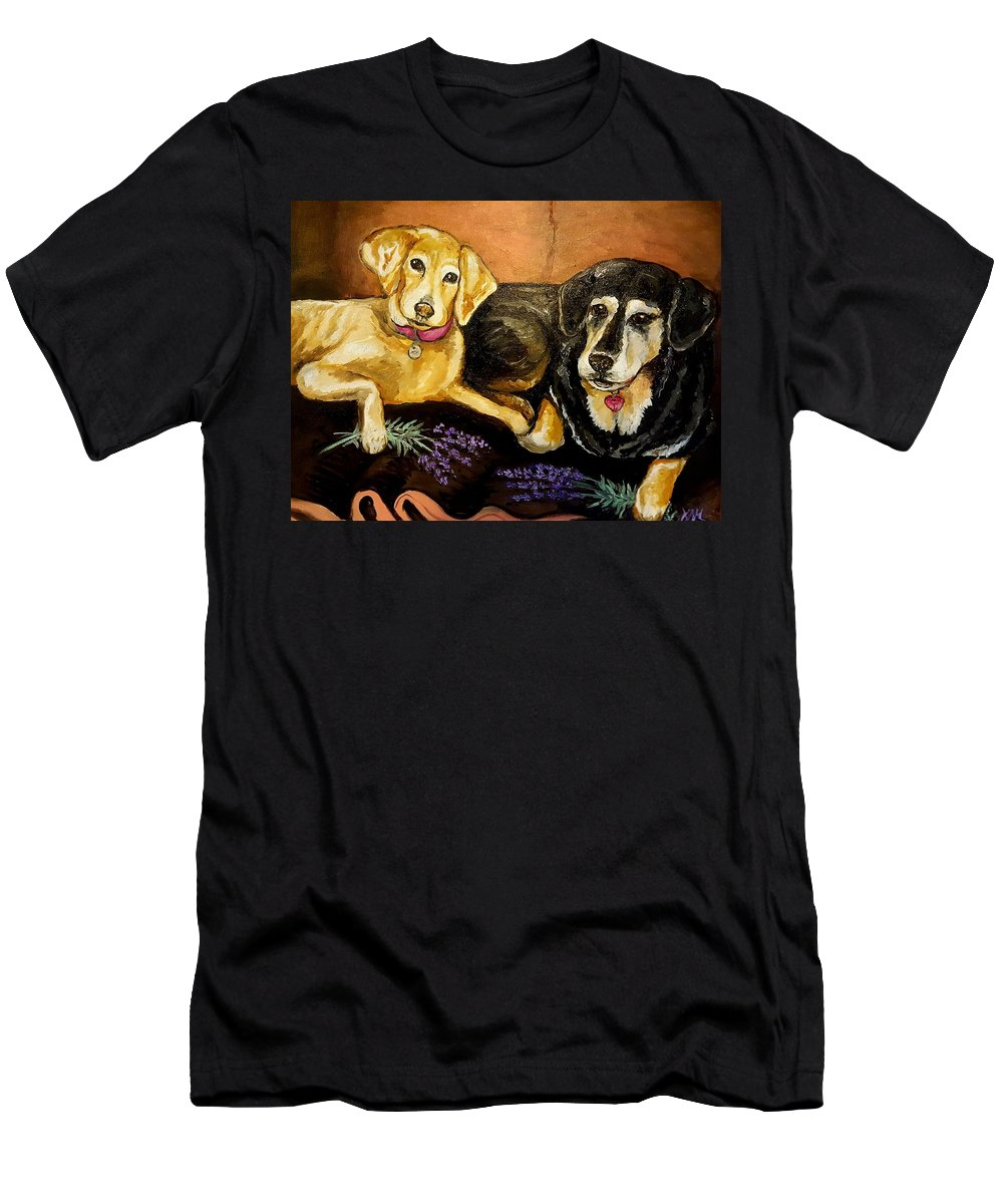 Dogs T-Shirt featuring the painting Mandys Girls by Alexandria Weaselwise Busen