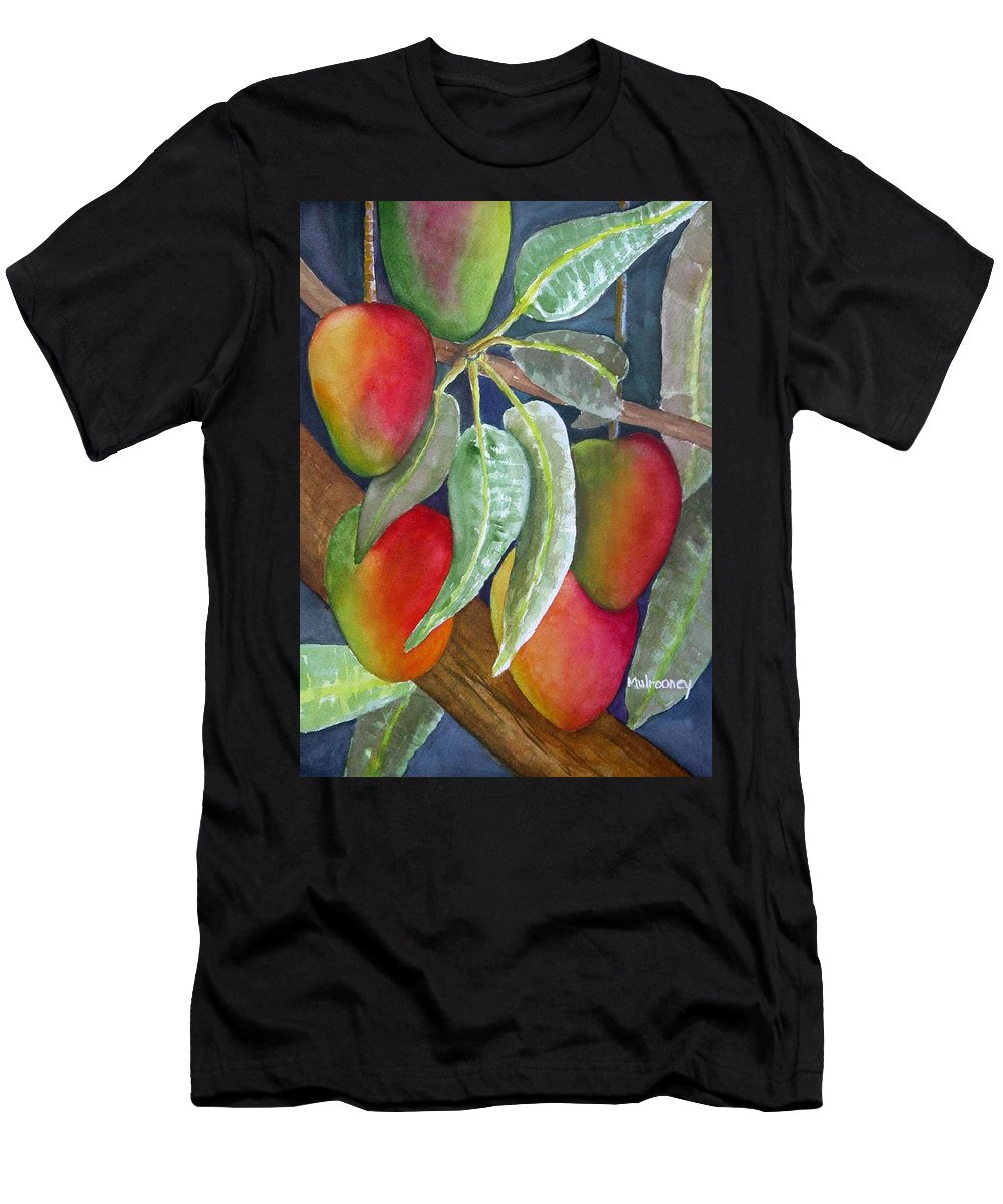 Tropical Fruit Men's T-Shirt (Athletic Fit) featuring the painting Mango One by Terry Arroyo Mulrooney