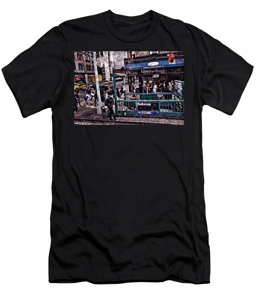 New York City Buildings Men's T-Shirt (Athletic Fit) featuring the photograph Manhattan 14th Street by Joan Reese