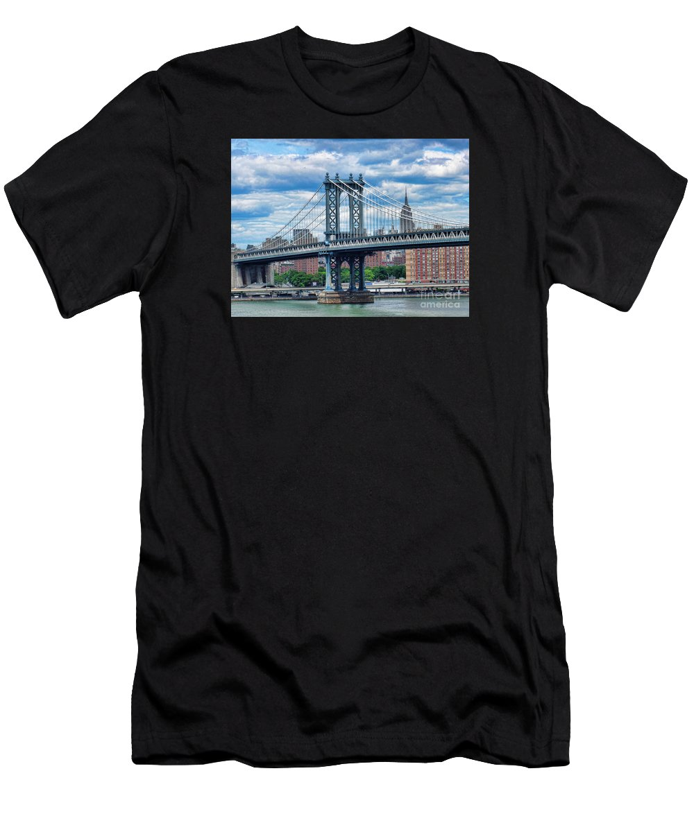 Mariola Men's T-Shirt (Athletic Fit) featuring the photograph Manhattan Bridge by Mariola Bitner