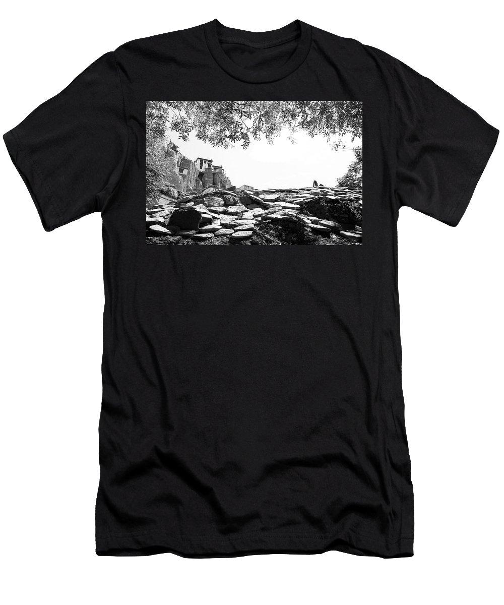 Lamayuru Men's T-Shirt (Athletic Fit) featuring the photograph Mani Stones by Patrick Klauss