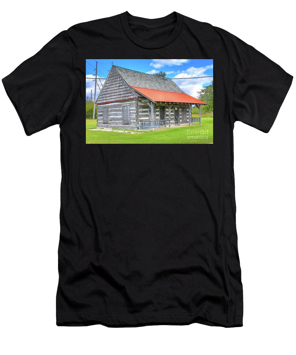 Manistique Men's T-Shirt (Athletic Fit) featuring the photograph Manistique Schoolcraft County Museum Log Cabin -2158 by Norris Seward