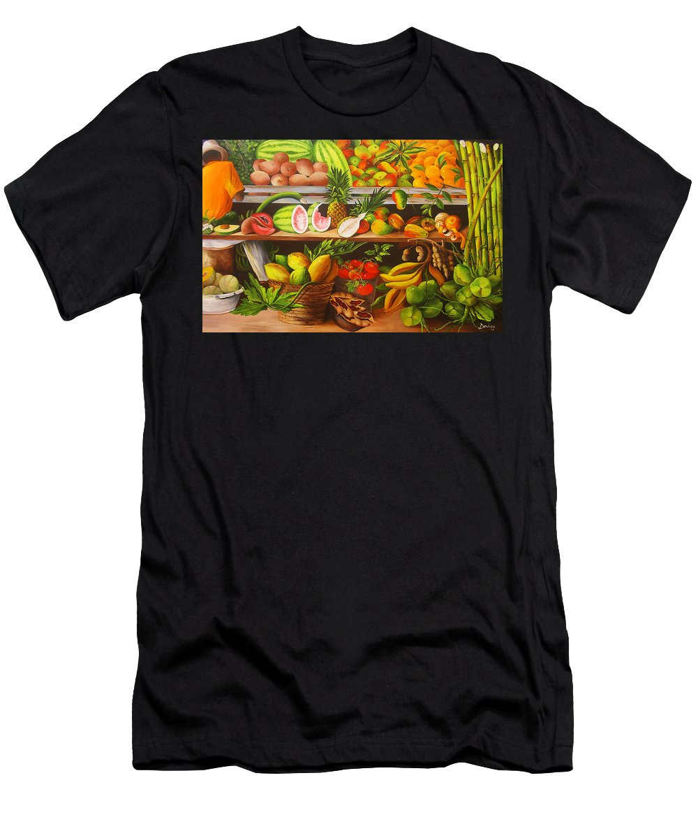 Caribbean Men's T-Shirt (Athletic Fit) featuring the painting Manuel And His Fruit Stand by Dominica Alcantara