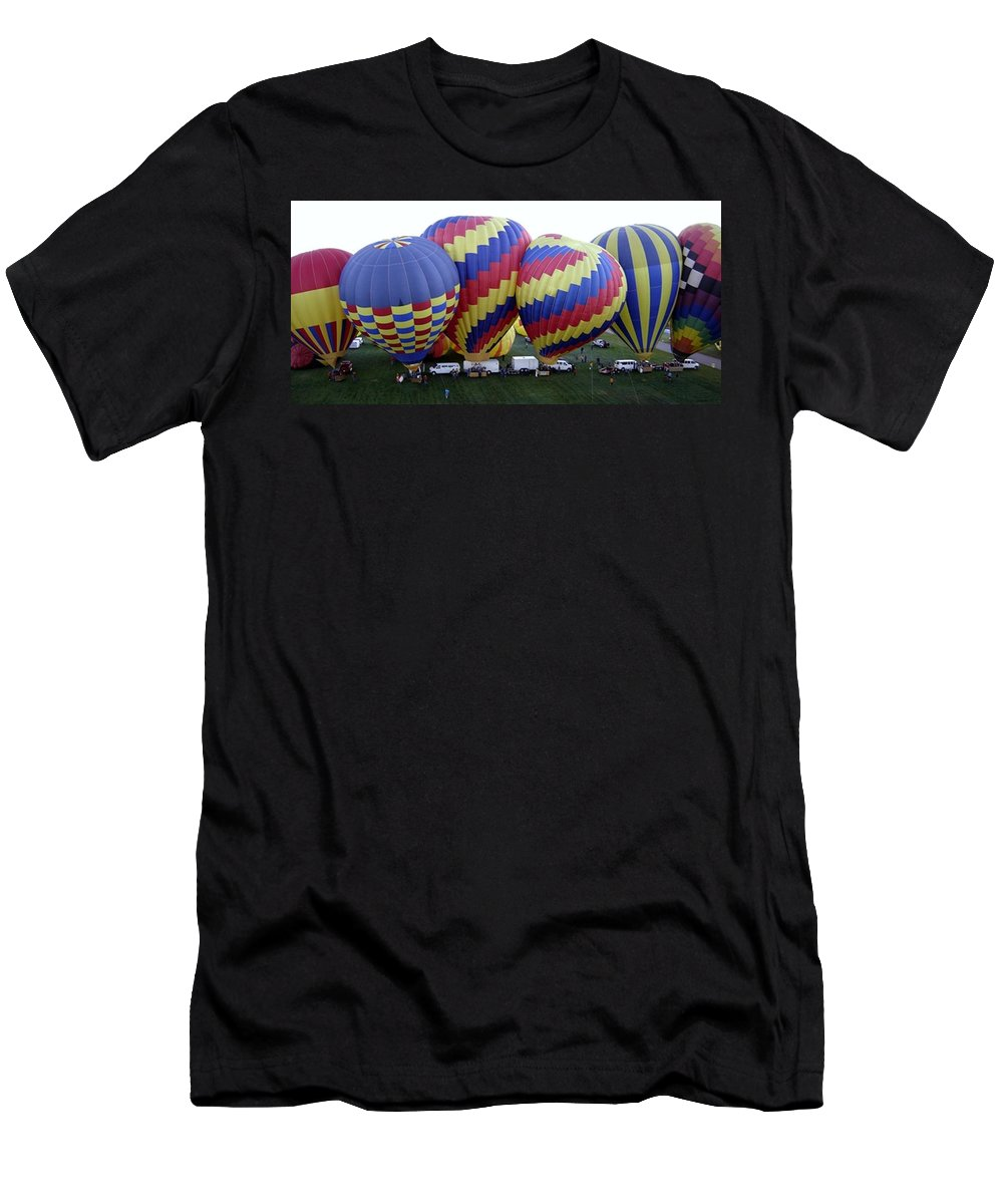 Hot Air Balloons Men's T-Shirt (Athletic Fit) featuring the photograph Many Balloons by Mary Rogers