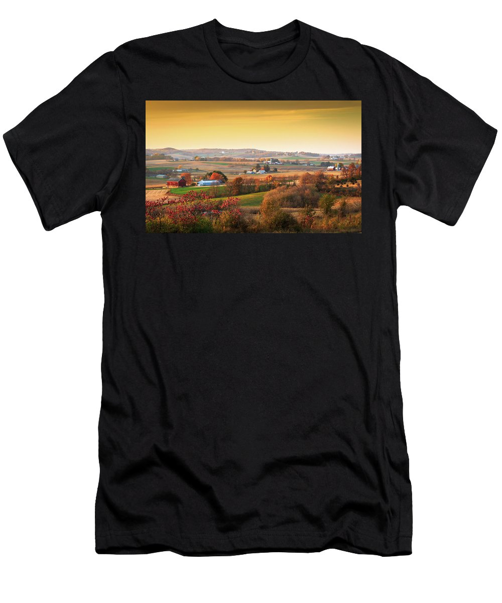 Landscape Men's T-Shirt (Athletic Fit) featuring the photograph Many Farms by Dan Fearing