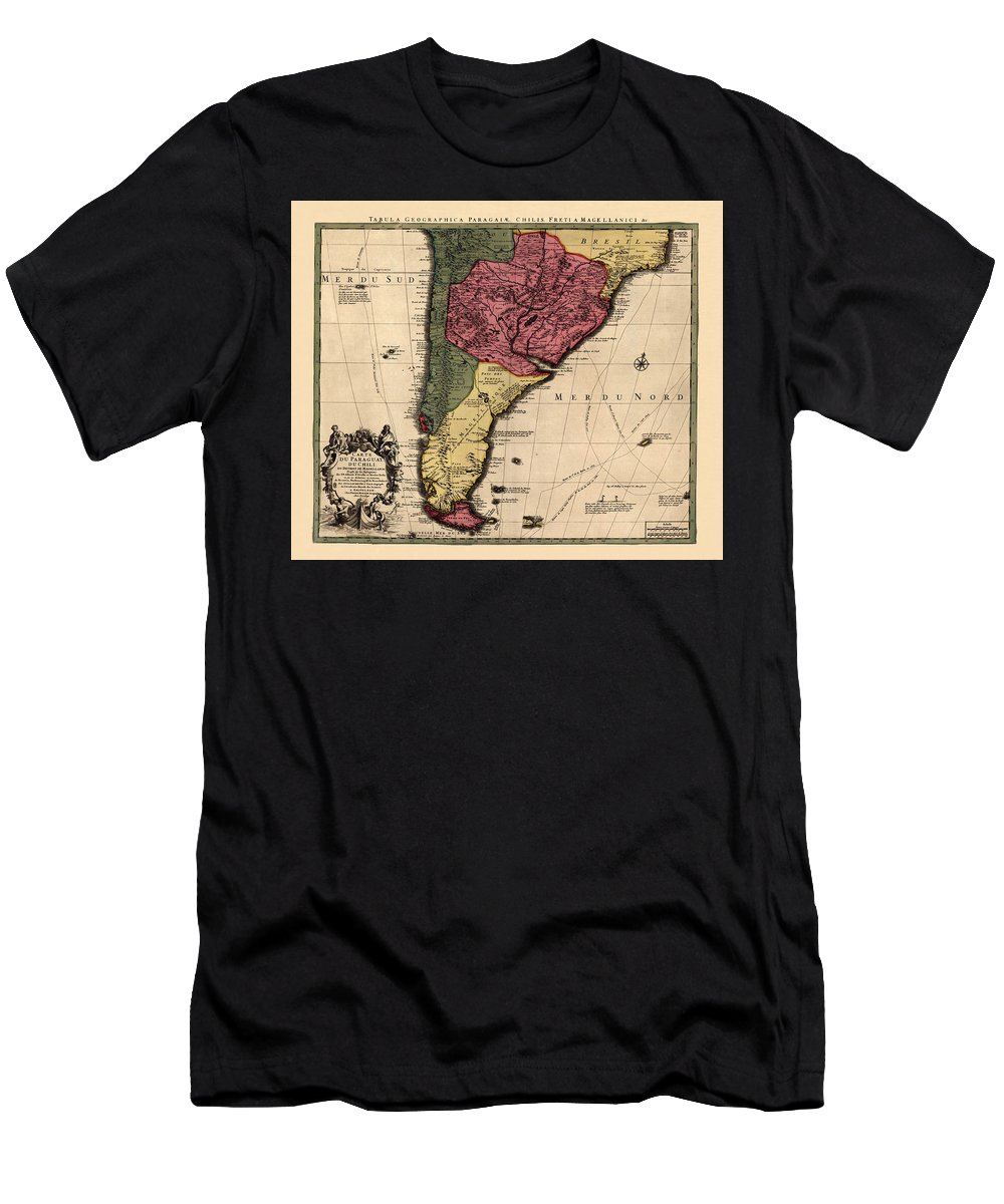 Map Of Argentina Men's T-Shirt (Athletic Fit) featuring the photograph Map Of Argentina 1700 by Andrew Fare