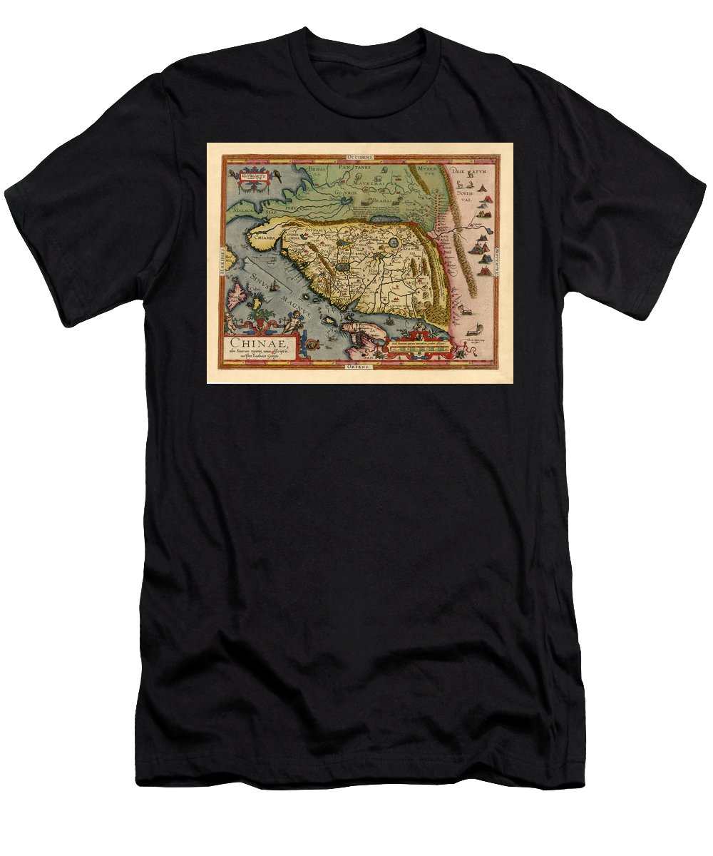 Map Of China Men's T-Shirt (Athletic Fit) featuring the photograph Map Of China 1590 by Andrew Fare