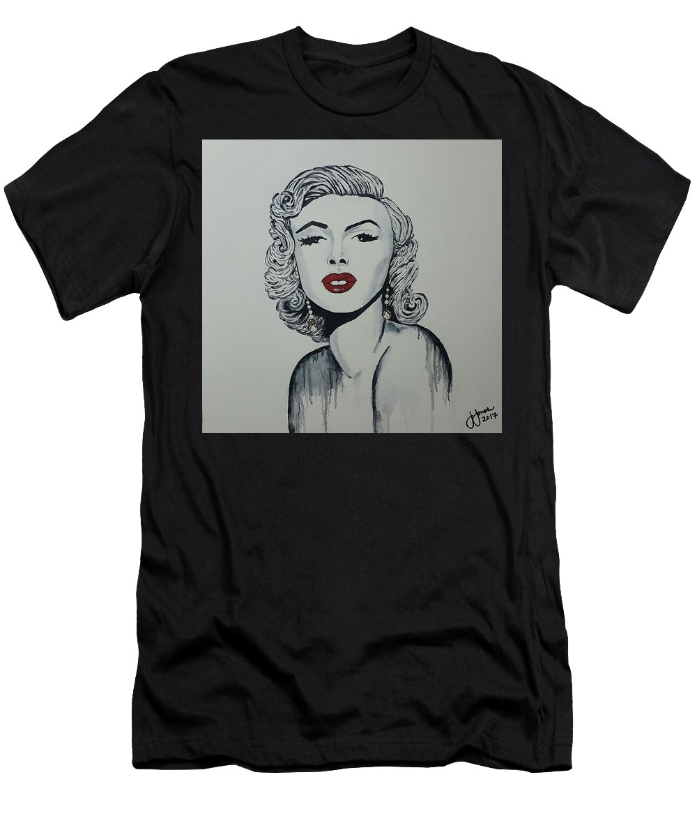 Marilyn Monroe Black And White With Ruby Red Lips. Men's T-Shirt (Athletic Fit) featuring the painting Marilyn Monroe Dripping by Jewells Jones