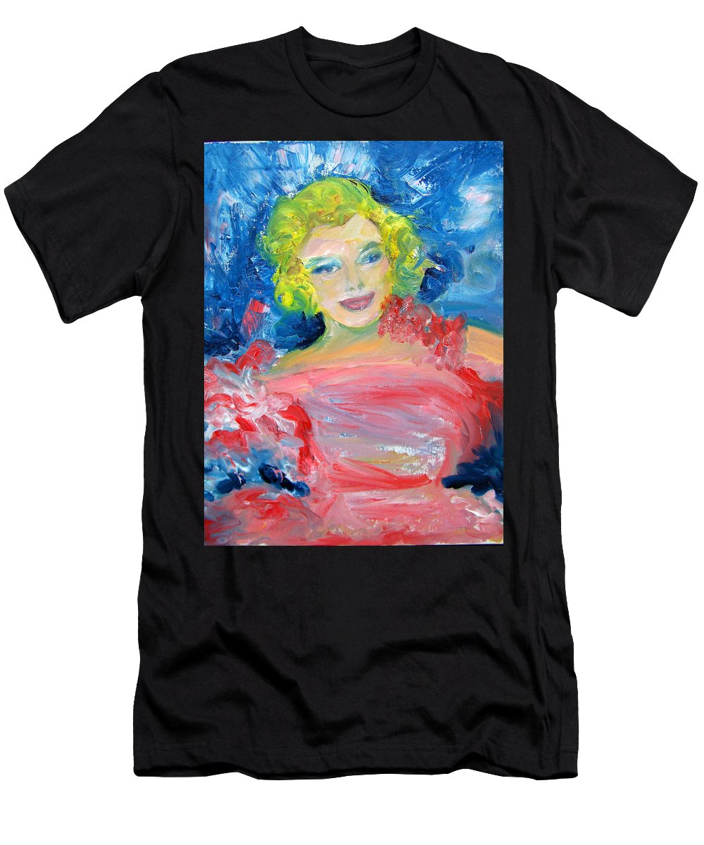 Marilyn Monroe Painting Men's T-Shirt (Athletic Fit) featuring the painting Marilyn Monroe In Pink And Blue by Patricia Taylor