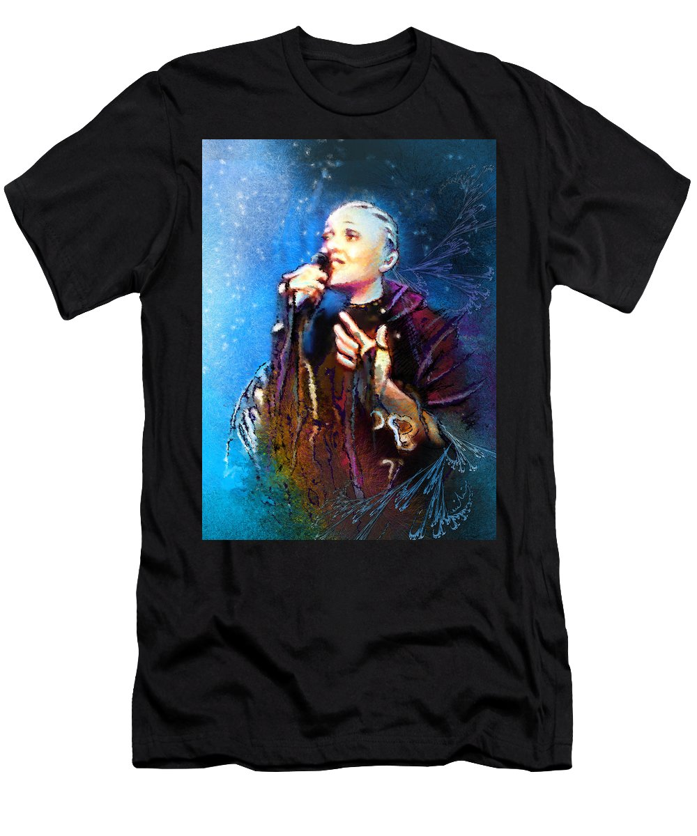 Music Men's T-Shirt (Athletic Fit) featuring the painting Mariza by Miki De Goodaboom