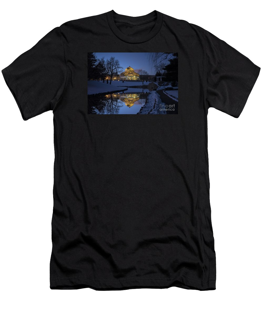 Saint Paul Men's T-Shirt (Athletic Fit) featuring the photograph Marjorie Mcneely Conservatory At Dusk by Craig Hinton