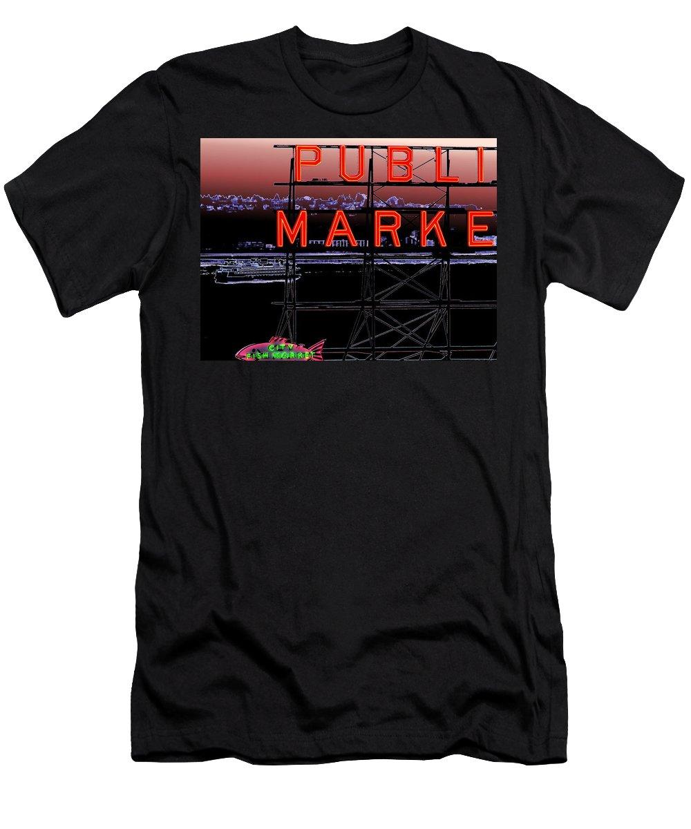 Seattle Men's T-Shirt (Athletic Fit) featuring the digital art Market Ferry 2 by Tim Allen