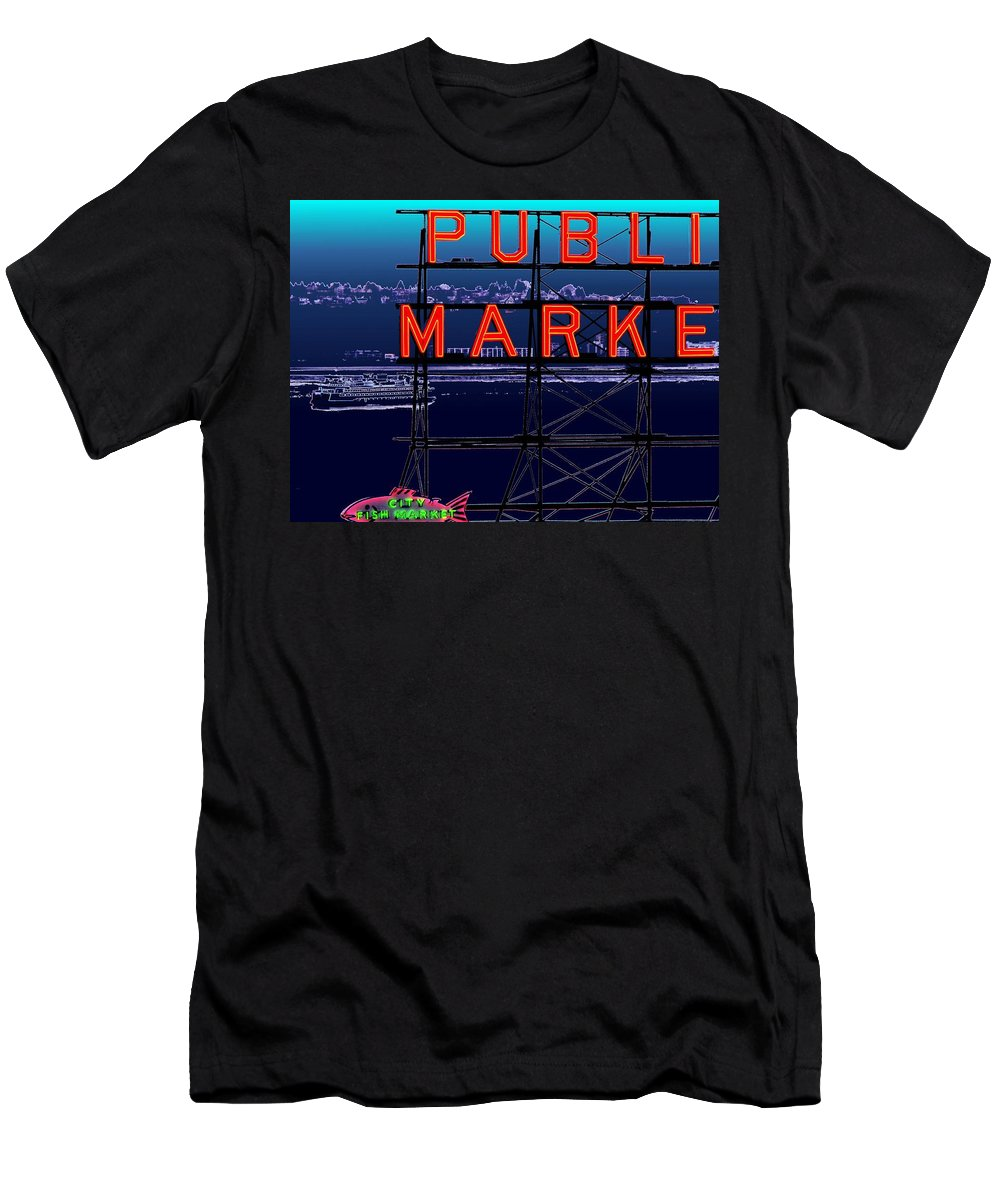 Seattle Men's T-Shirt (Athletic Fit) featuring the digital art Market Ferry by Tim Allen