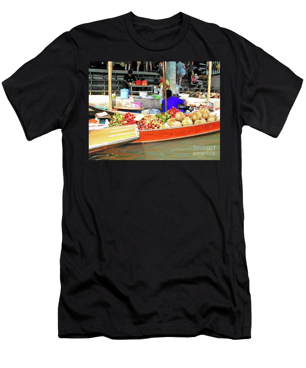Thailand Men's T-Shirt (Athletic Fit) featuring the photograph Market In Thailand by Eunice Warfel