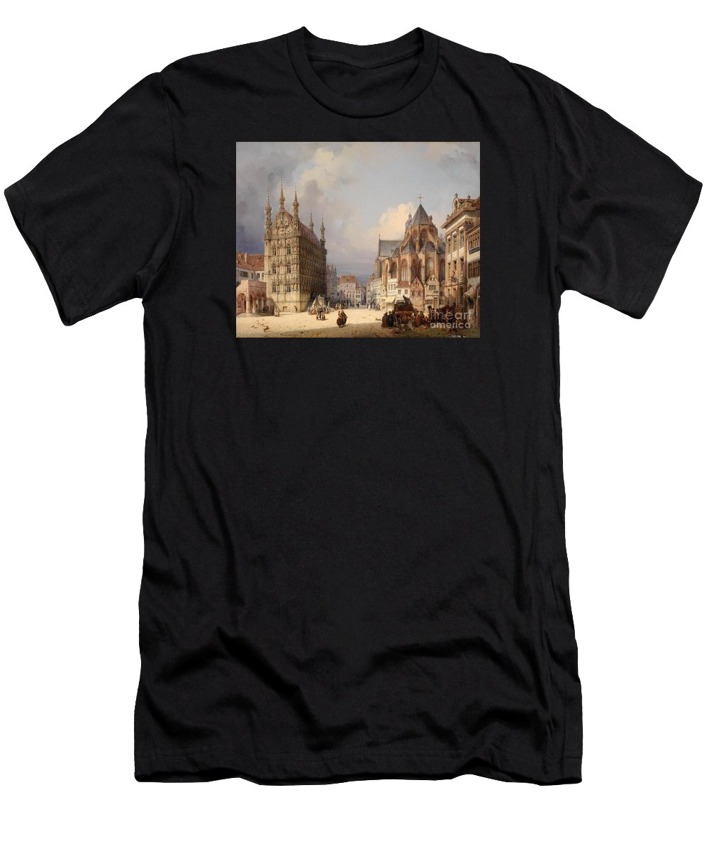 Michael Neher (1798 - 1876) Marketsquare Leuven. Kingdom Men's T-Shirt (Athletic Fit) featuring the painting Marketsquare Leuven by Michael Neher