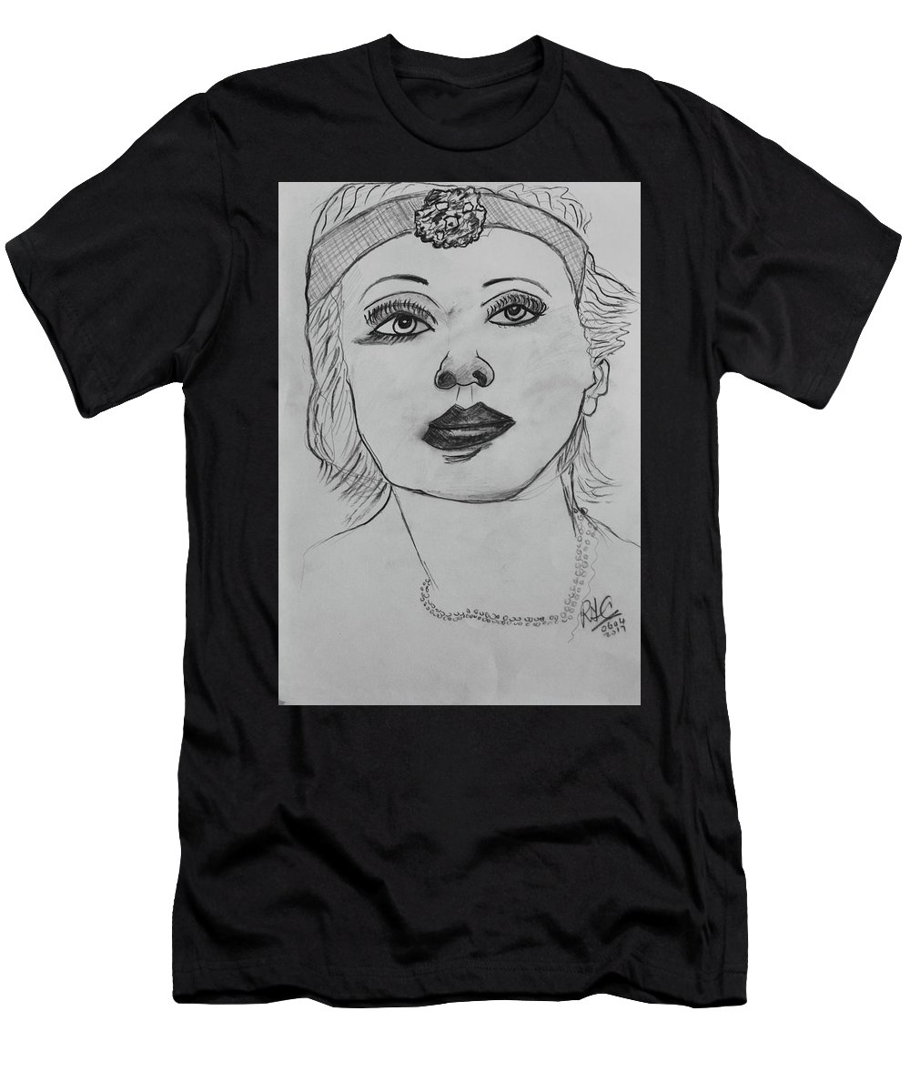 Drawing Men's T-Shirt (Athletic Fit) featuring the drawing Marlene by Roger Cummiskey