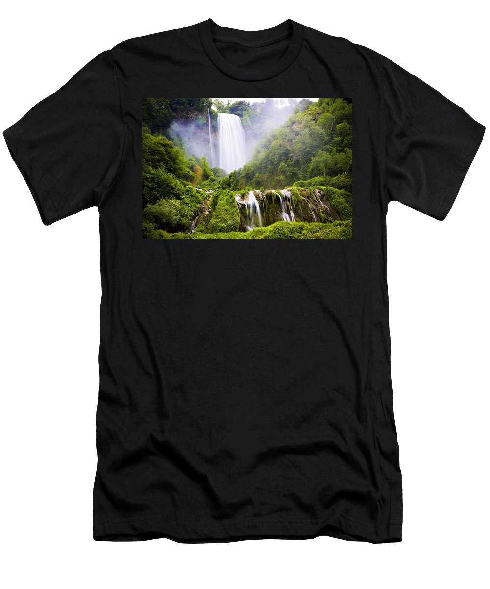 Italy Men's T-Shirt (Athletic Fit) featuring the photograph Marmore Waterfalls Italy by Marilyn Hunt