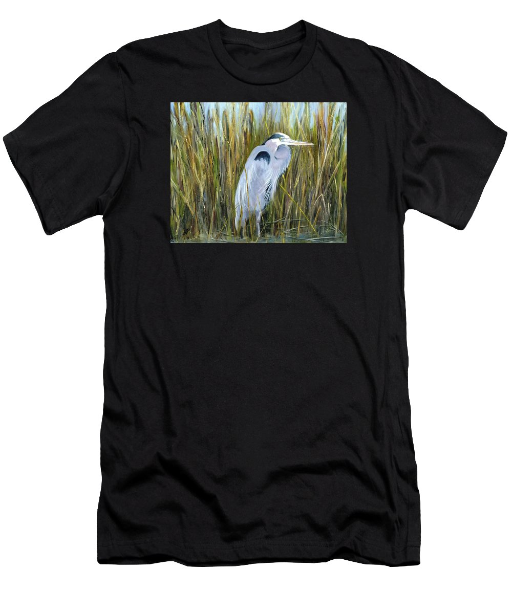 Heron Men's T-Shirt (Athletic Fit) featuring the painting Marsh Heron by Deborah Butts