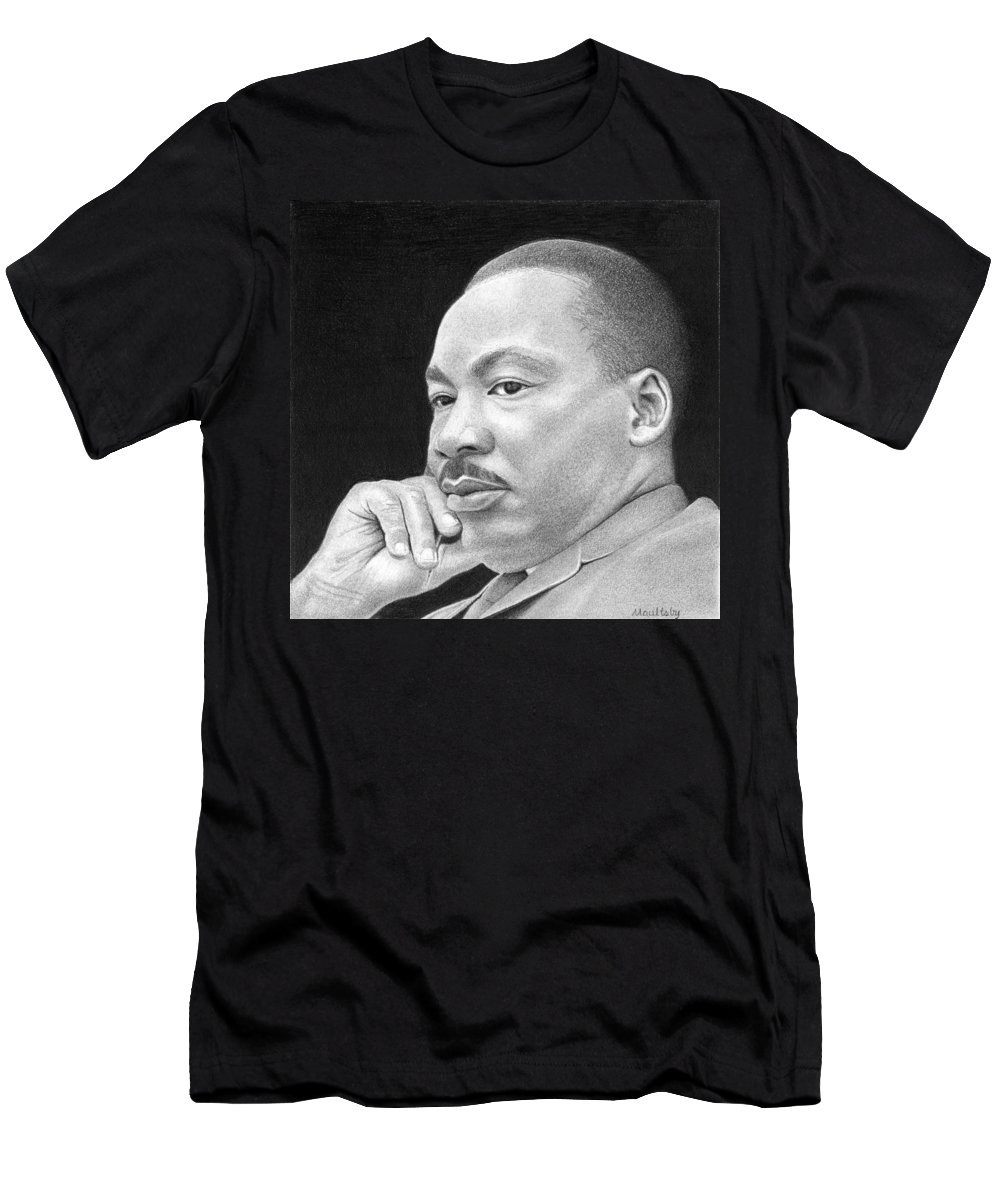 Graphite Men's T-Shirt (Athletic Fit) featuring the drawing Martin Luther King, Jr by Curtis Maultsby