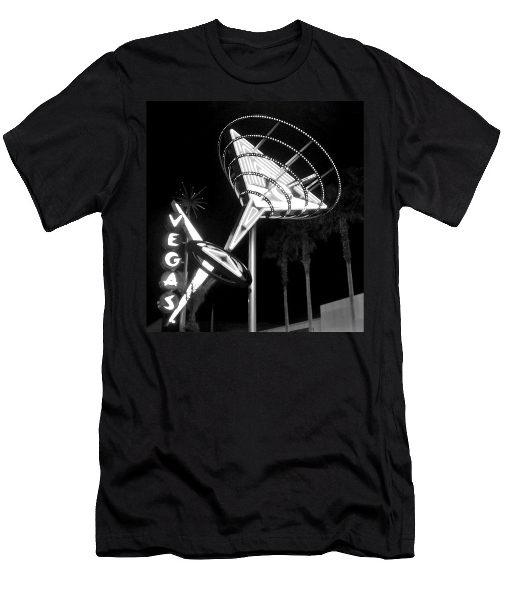 Martini Men's T-Shirt (Athletic Fit) featuring the photograph Martini Sign In Vegas B-w by Anita Burgermeister