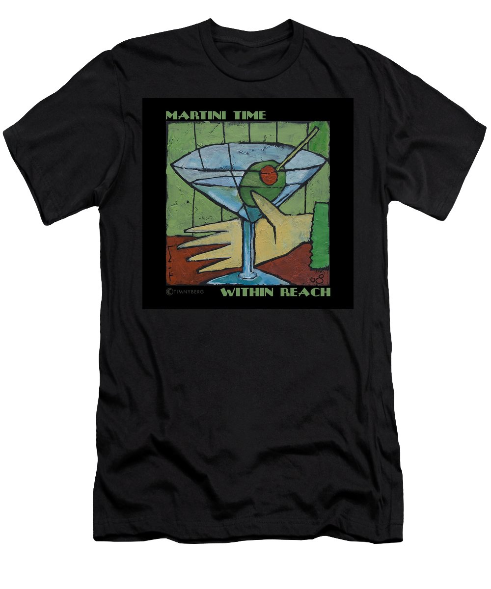 Martini Men's T-Shirt (Athletic Fit) featuring the painting Martini Time - Within Reach by Tim Nyberg