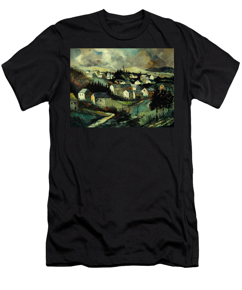 Winter Men's T-Shirt (Athletic Fit) featuring the painting Masbourg by Pol Ledent