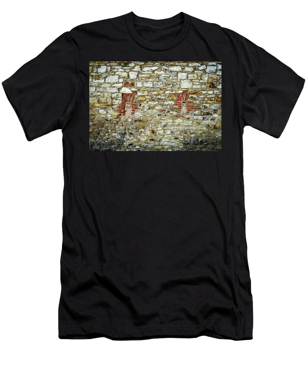 Antique Men's T-Shirt (Athletic Fit) featuring the photograph masonry Locked windows on the stone wall by Jozef Jankola
