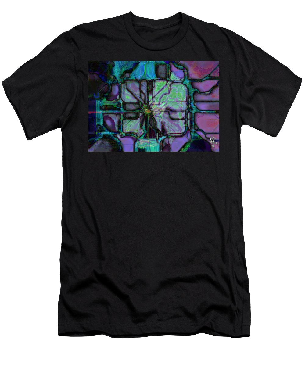 Circuit Men's T-Shirt (Athletic Fit) featuring the digital art Matrices In Glass Houses by Kevyn Kross