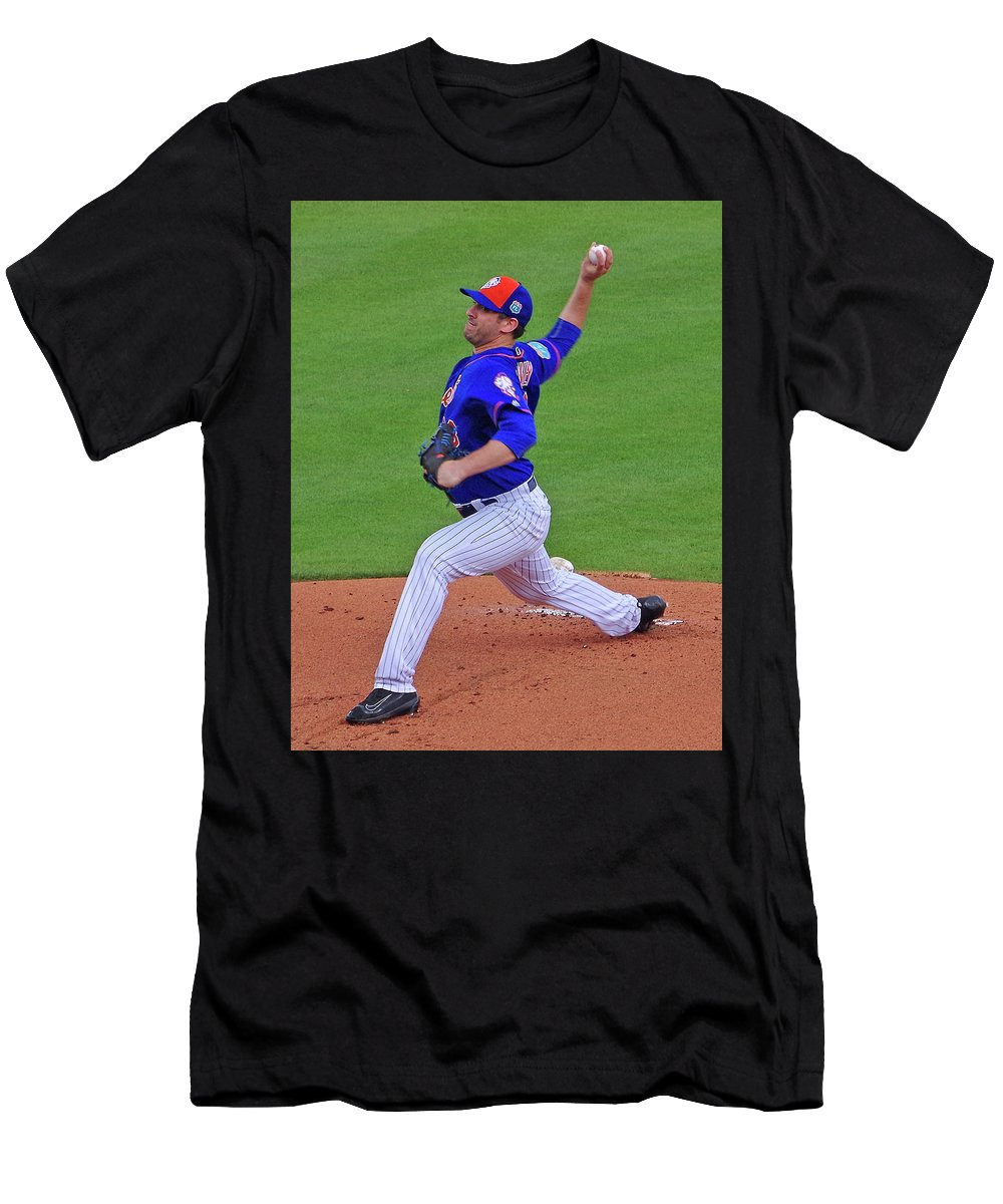 Matt Havery Men's T-Shirt (Athletic Fit) featuring the photograph Matt Harvey by Bruce Roker