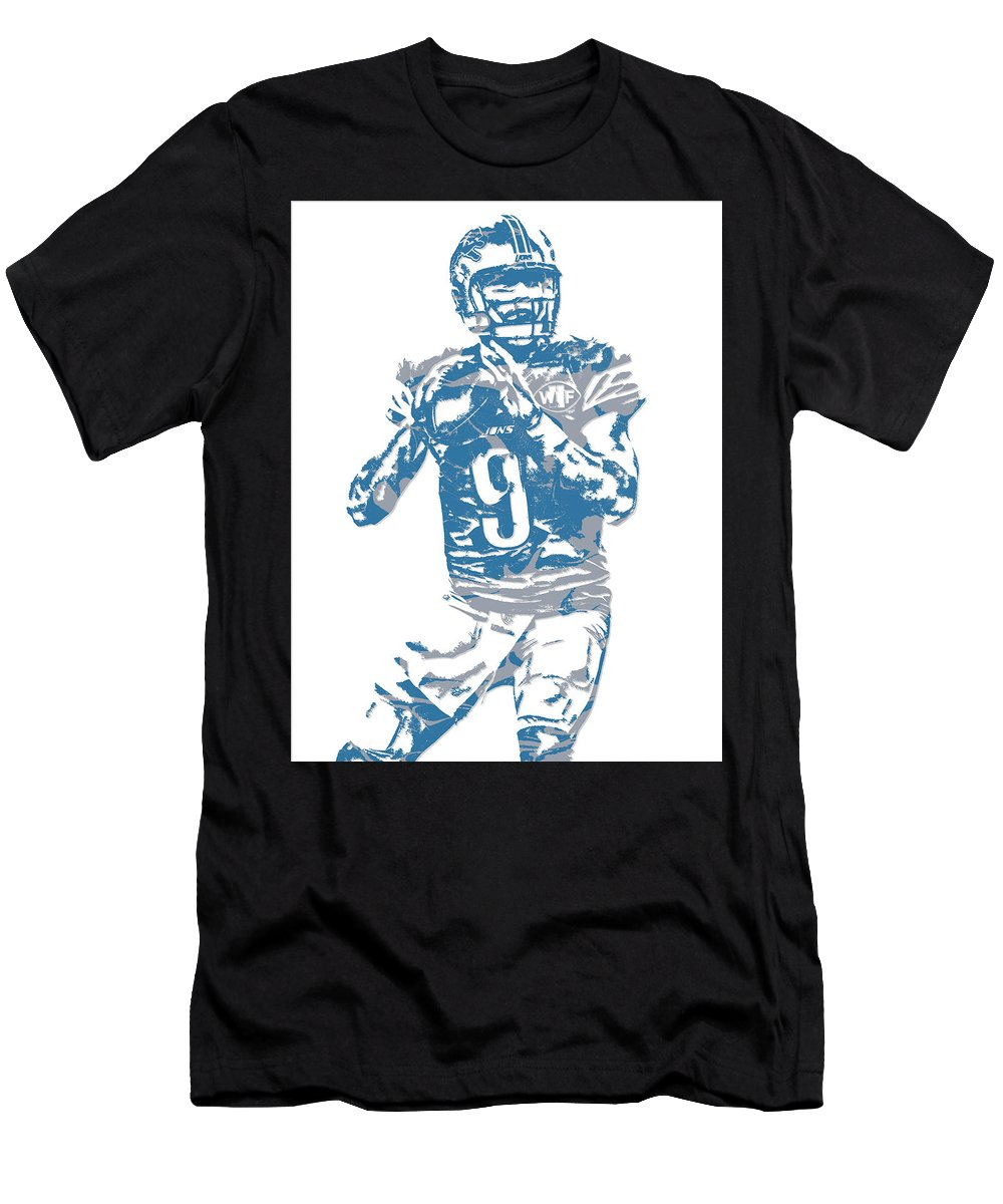 Matthew Stafford Men's T-Shirt (Athletic Fit) featuring the mixed media Matthew Stafford Detroit Lions Pixel Art 5 by Joe Hamilton