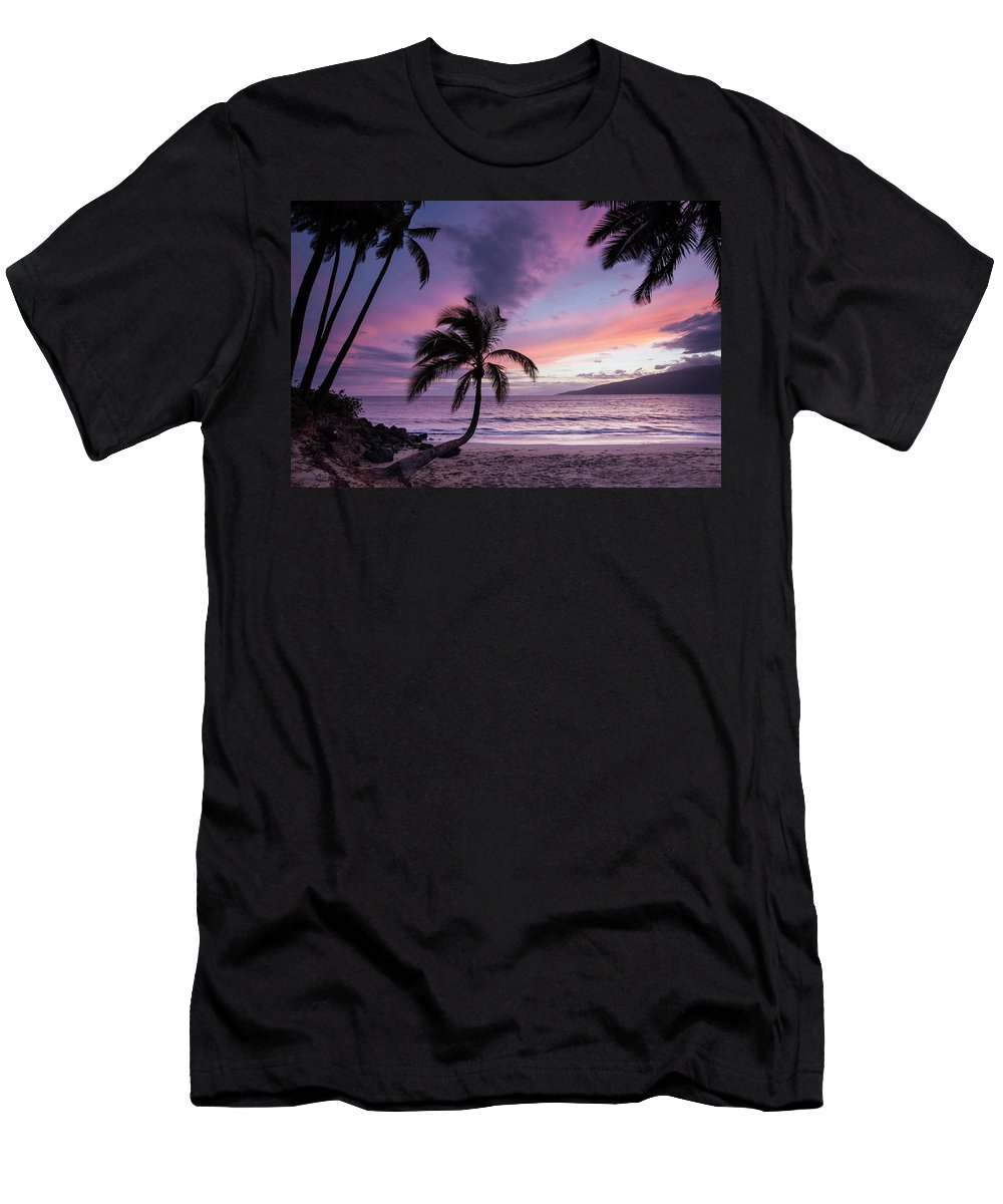 Maui Hawaii Sunset Palmtrees Colorful Ocean Fine Art Photography Men's T-Shirt (Athletic Fit) featuring the photograph Maui Moments by James Roemmling